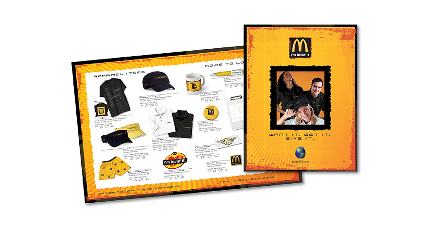 "Our previous agency was selected to develop the launch materials for McDonald's first ever global ""i'm lovin' it"" campaign. We designed the promotional merchandise as well as a dynamic collateral brochure that resonated with the ""i'm lovin' it"" theme."