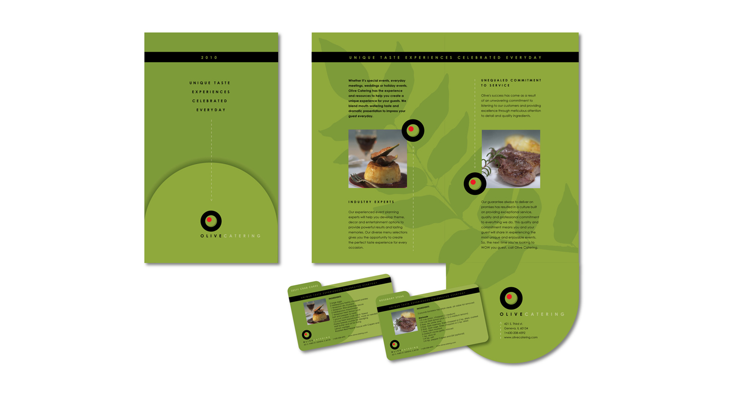 We developed the promotional materials, branding elements and direct mail compoents for this catering company. These elements include menu and recipe suggestions. The recipe cards to the right are part of an ongoing promotional effort.