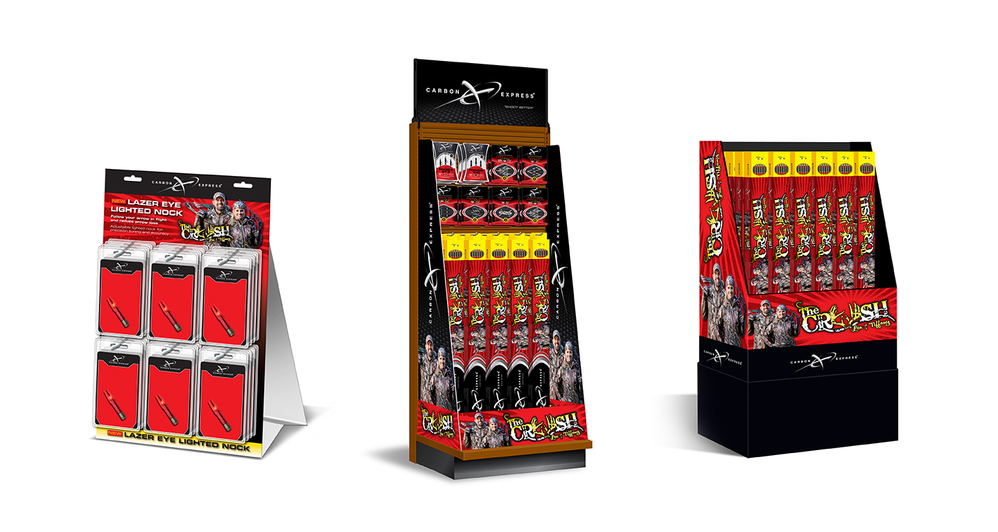 Designed to leverage the celebrity endorsement of Lee and Tiffany Lekosky as well as the CRUSH arrow, designed and engineered by Carbon Express, this display incorporates impactful side panels that communicate this unique, co-branded product. From end cap displays to stand-alone display shippers, this modular design allowed for the flexibility of many retail applications.