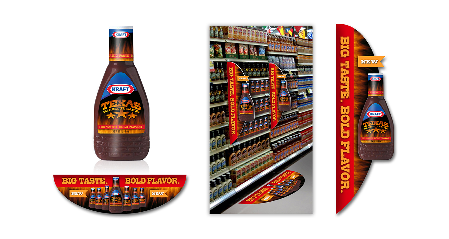 Kraft was looking to position their new barbecue sauce between the original sauce and their premium sauces. We designed this product package and these in-store materials to compliment the taste of this new, spicy, and bold-flavored sauce.